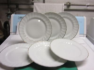 Bernardaud six dessert plates fine Limoges china gold trim fluted 8 /2
