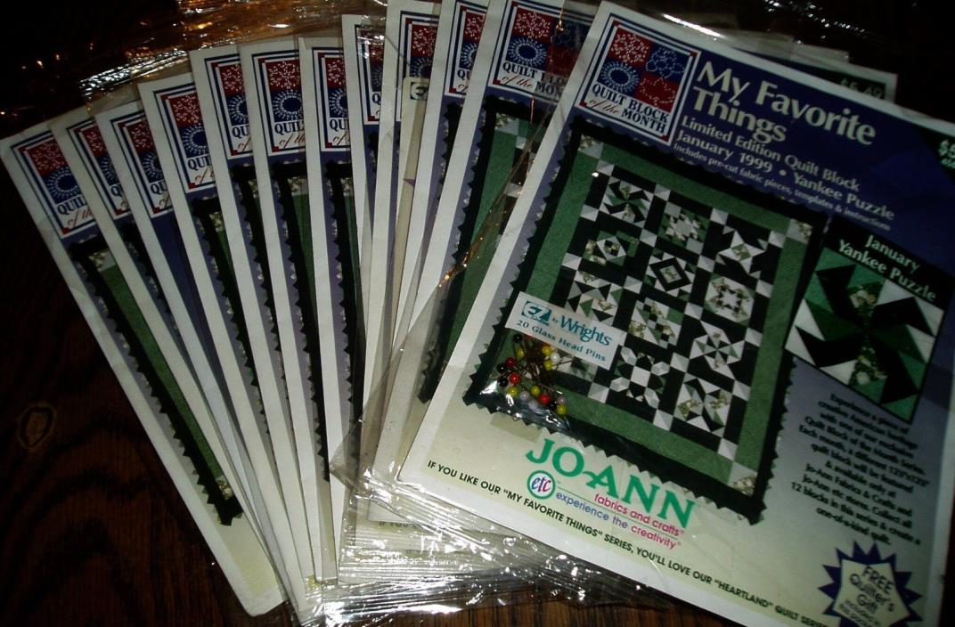 Jo Ann My Favorite Things Quilt Complete 12 Blocks Of The Month Fabric Kits