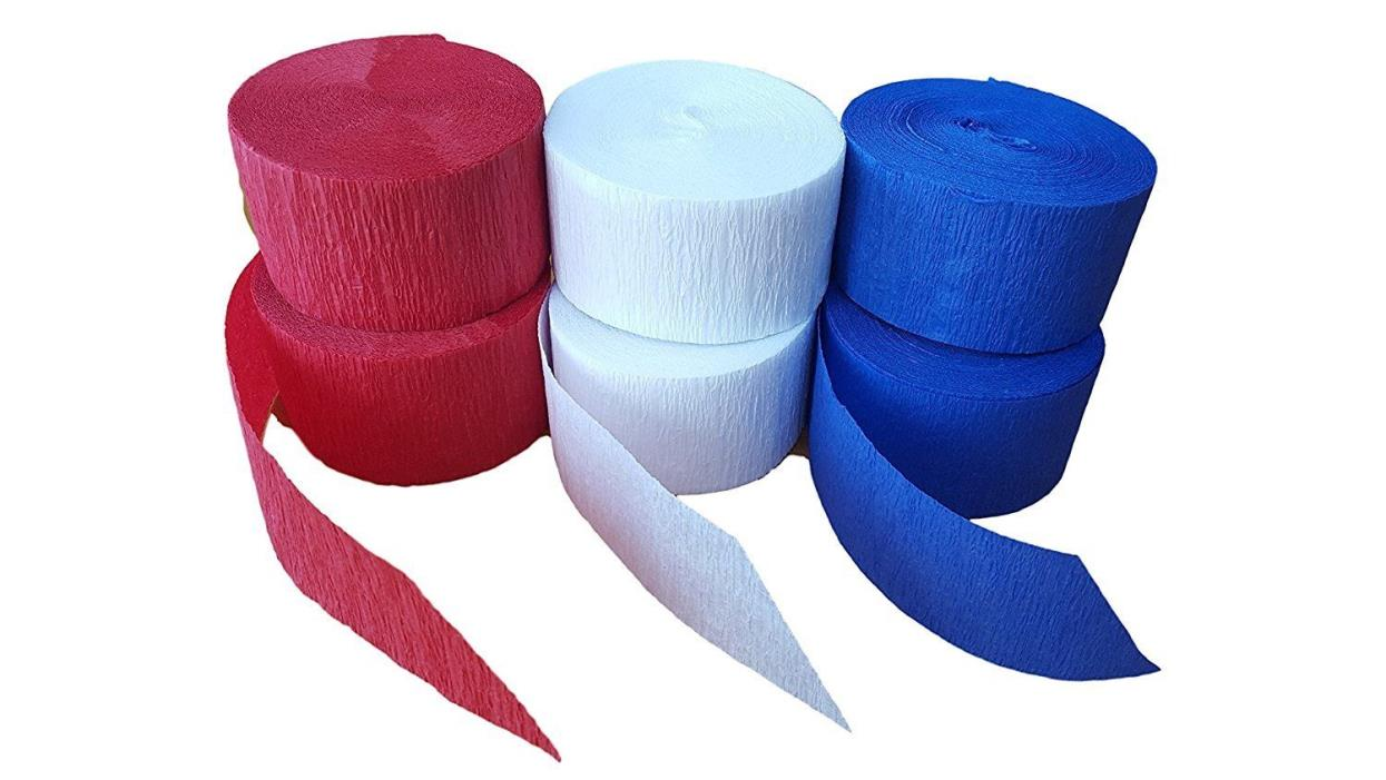Patriotic Red White And Blue Crepe Paper Streamer Party 420 ft USA Decor 6 Rolls