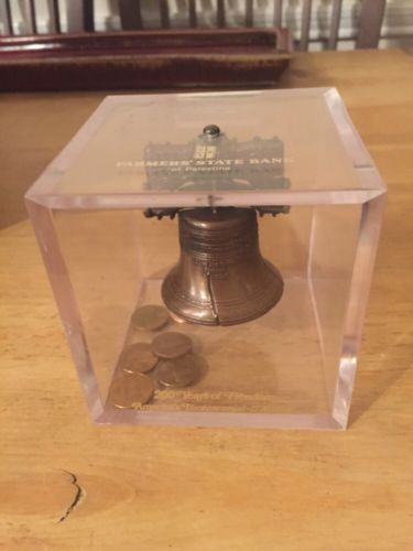 Rare Vintage Liberty Bell Bank Farmers State Bank Of Palestine Texas 1976