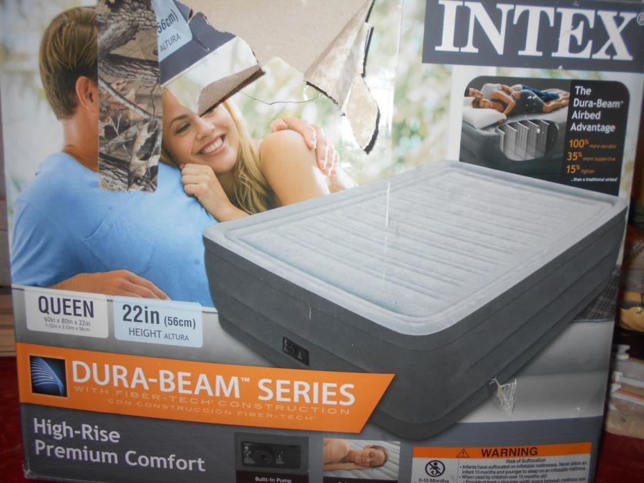 Intex HIgh-Rise Premium Comfort Plush Elevated Dura-Beam Airbed Bed 22