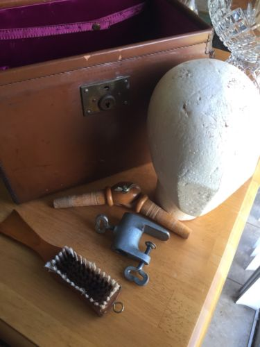 Antique leather wig case box stand table clamp brush travel luggage toiletries