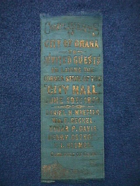 June 19, 1899 ANTIQUE Woven SILK Bookmark:OMAHA CORNERSTONE of CITY HALL (2)