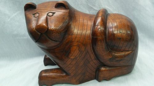 Antique carved wood folk art Cat bank box figurine