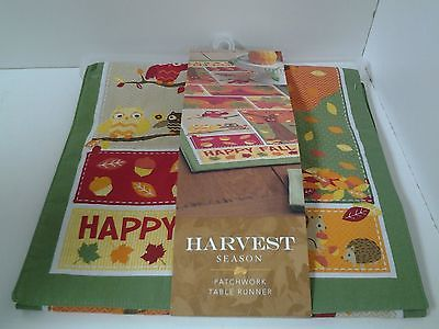 Harvest Season Patchwork Table Runner HAPPY FALL Owls Pumpkins Acrons Leaves