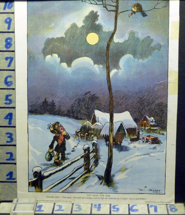 1904 DAGGY BLACK AMERICANA COMIC WINTER CHRISTMAS PRINT ART VINTAGE  AN15