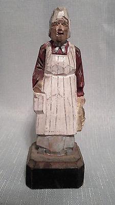 Vintage Hand Carved Painted Wood Folk Art Old Grandmother w/ bread basket