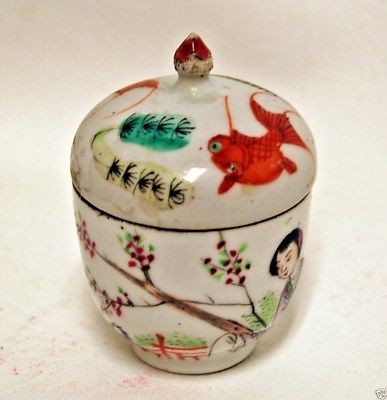 Antique 19th Century Chinese Famille Rose Covered Jar Ginger Pot Fish Koi