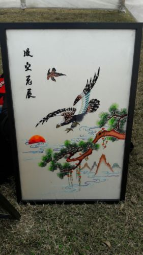 Antique Old Chinese Silk Embroidery Textile Panel Tapestry birds Flowers