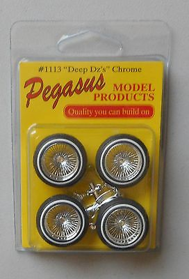 DEEP DZ's CHROME RIMS WHITEWALL TIRES PEGASUS 1:24 1:25 CAR MODEL 1113