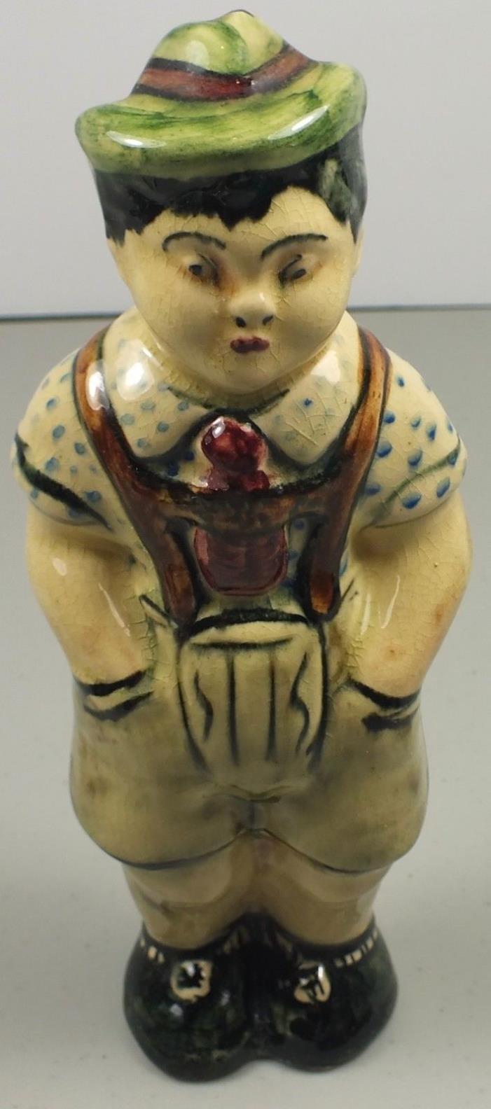 Antique Porcelain Mountain Guide Figurine Wearing Lederhosen & Hat