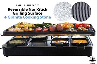 Milliard Raclette Grill for Eight People Includes Granite Cooking Stone Grilling