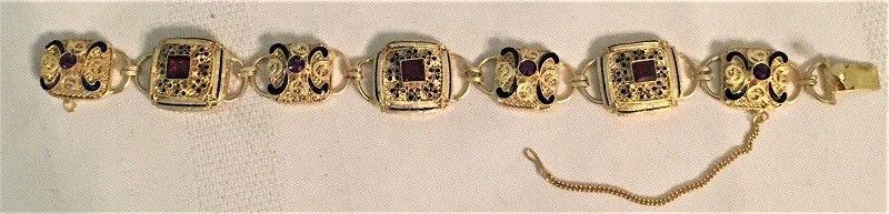 OLD CHINESE STERLING FILIGREE GOLD VERMEIL ENAMELED AMETHYST & GARNET BRACELET