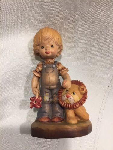 Vintage ANRI Sarah Kay Wood Carving Hand Painted Figurine 'Tag Along' 1326/4000