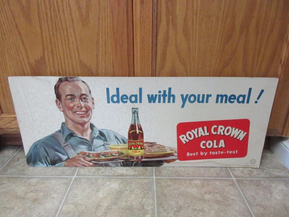 Vintage Royal Crown RC Cola Soda Cardboard Trolley Advertising Sign 1940s