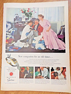 1954 Watchmakers of Switzerland Ad Art of the Swiss  New Companion for Old Timer