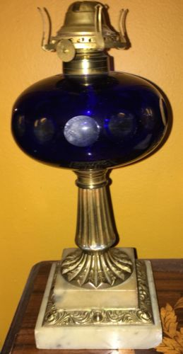 Antique Cobalt Cut to Clear Glass and Marble Oil Lamp