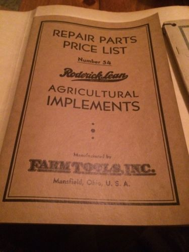 Vintage 1920 And 1939 Roderick Lean Farm Tool Parts Catalogs