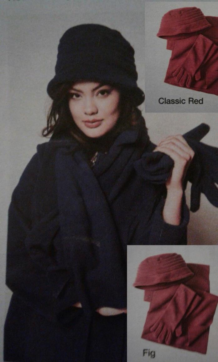 Hat gloves scarf and free bag set.