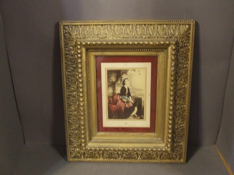 ANTIQUE EASTLAKE VICTORIAN HEAVY GOLD GESSO WOOD FRAME W/ LADY PRINT (A)