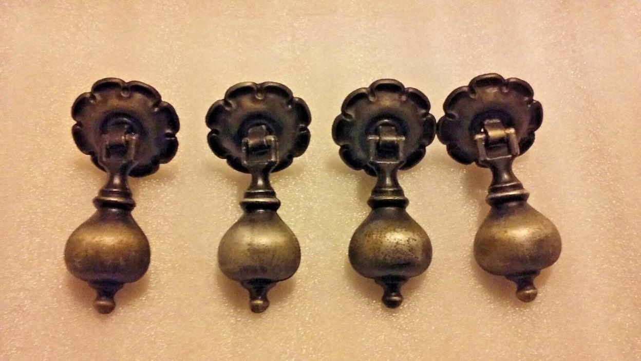 Vintage Teardrop Drawer Pulls ~Antique Style Silver/Pewter Finish~ With Hardware