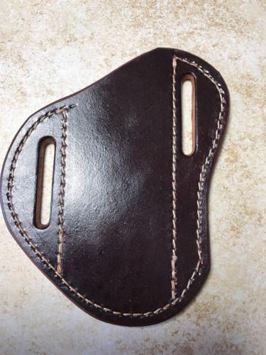 Pancake crossdraw quickdraw Leather Sheath For  buck110 sodbuster etc Mahogany