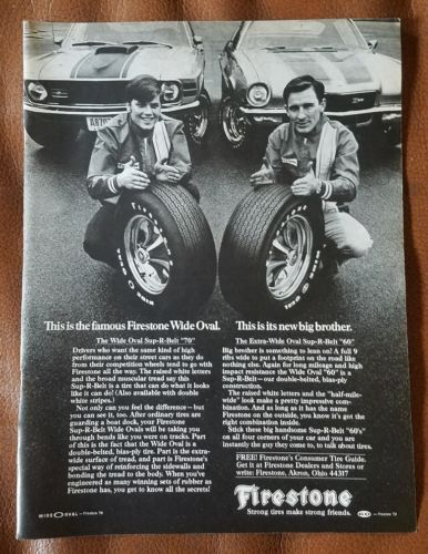 1970 Firestone Vintage Wide Oval Ad with Mustang Mach 1 Camaro Z/28