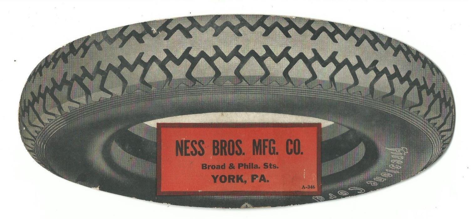 Old DIE CUT Advertising Premium Blotter Firestone Tires Ness Bros Mfg Co York PA