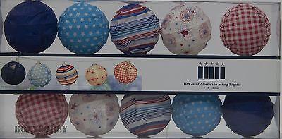 10 Count Red White Blue Americana Patriotic Paper Ball Lantern String Light Set