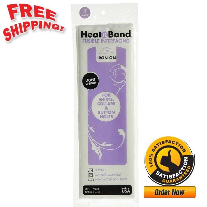 Heat'n Bond Light Weight Iron On Fusible Interfacing Cleanable White 20