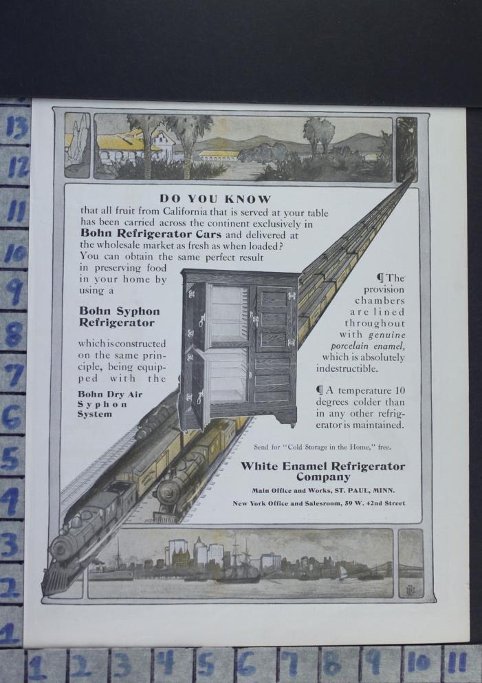 1908 BOHN TRAIN RAILROAD REFRIGERATOR TRANSPORT HOUSEHOLD VINTAGE AD  CA70