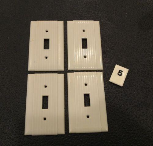 4 Ivory Vtg Bakelite Ribbed Deco Single Gang Uniline Switch Plate Covers B5