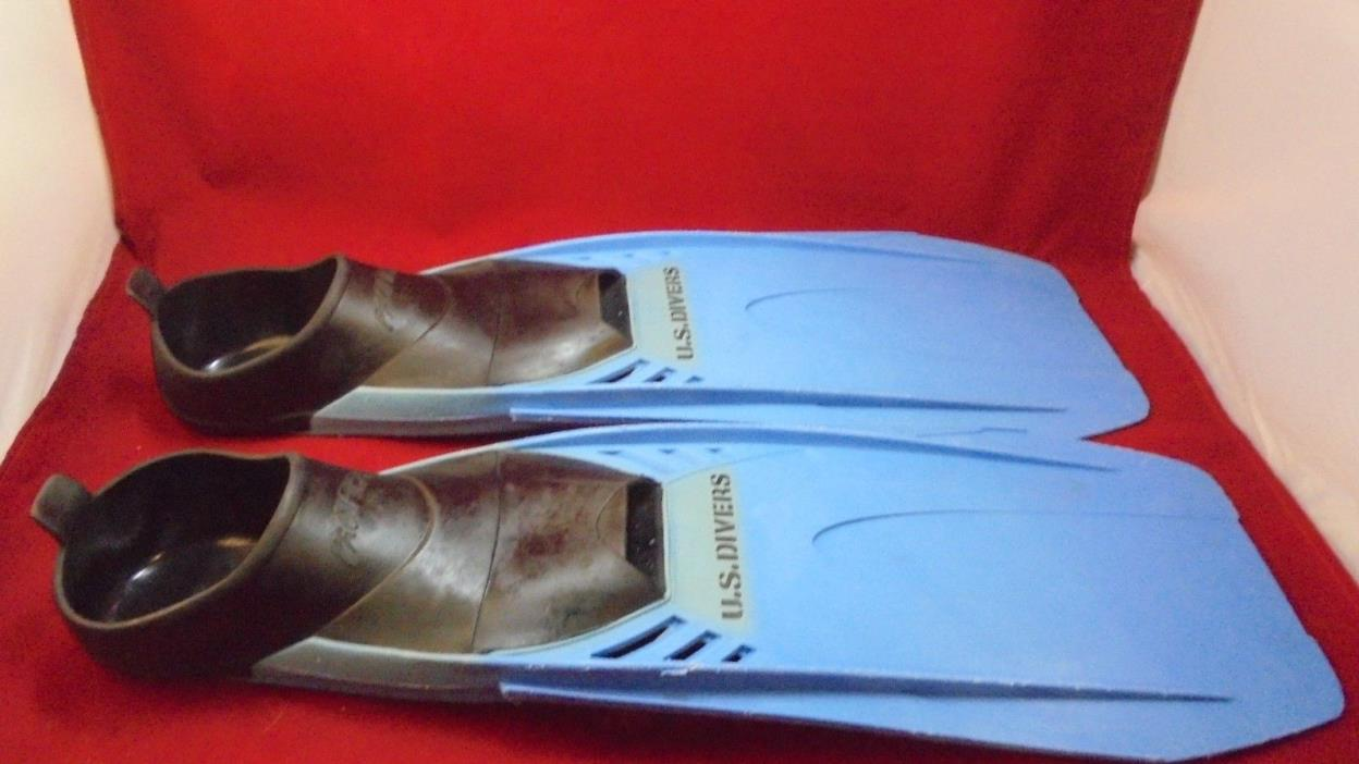 Pre-owned U.S. Divers Pacifica Size 5-6 swiming/diving flippers blue and black