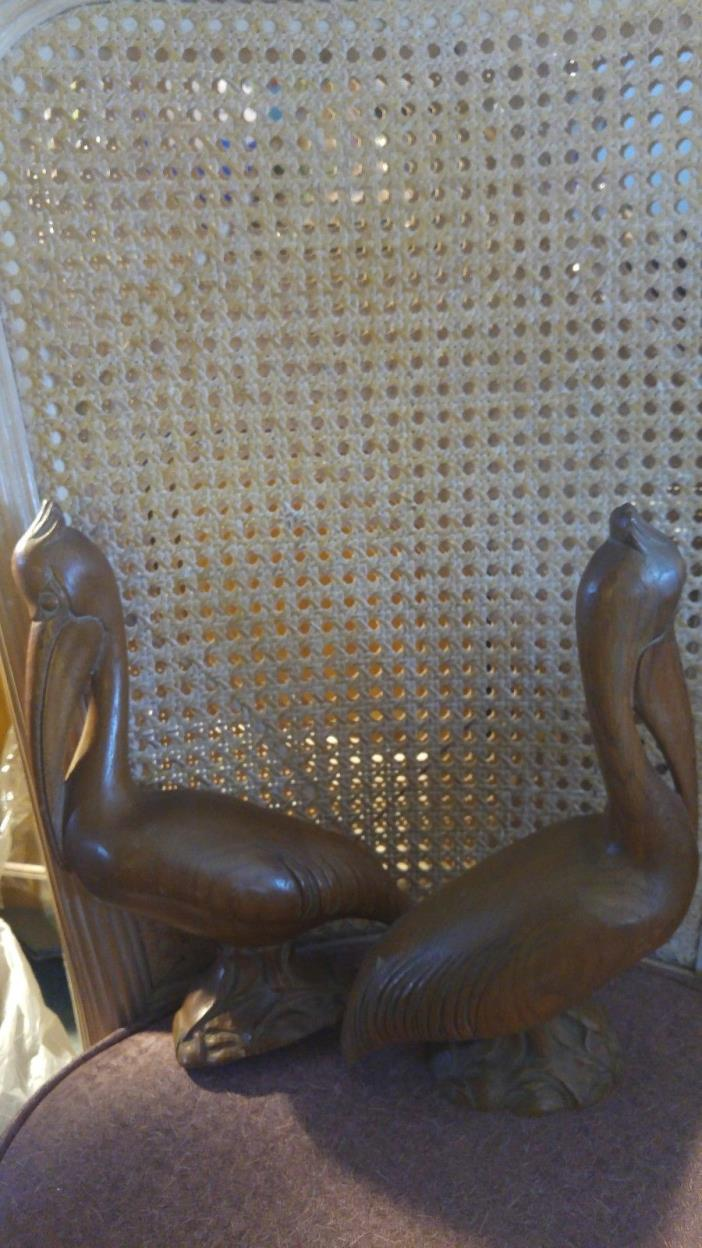 2 Vintage Polished Wooden Hand carved Pelican Figures (Karvedwood)