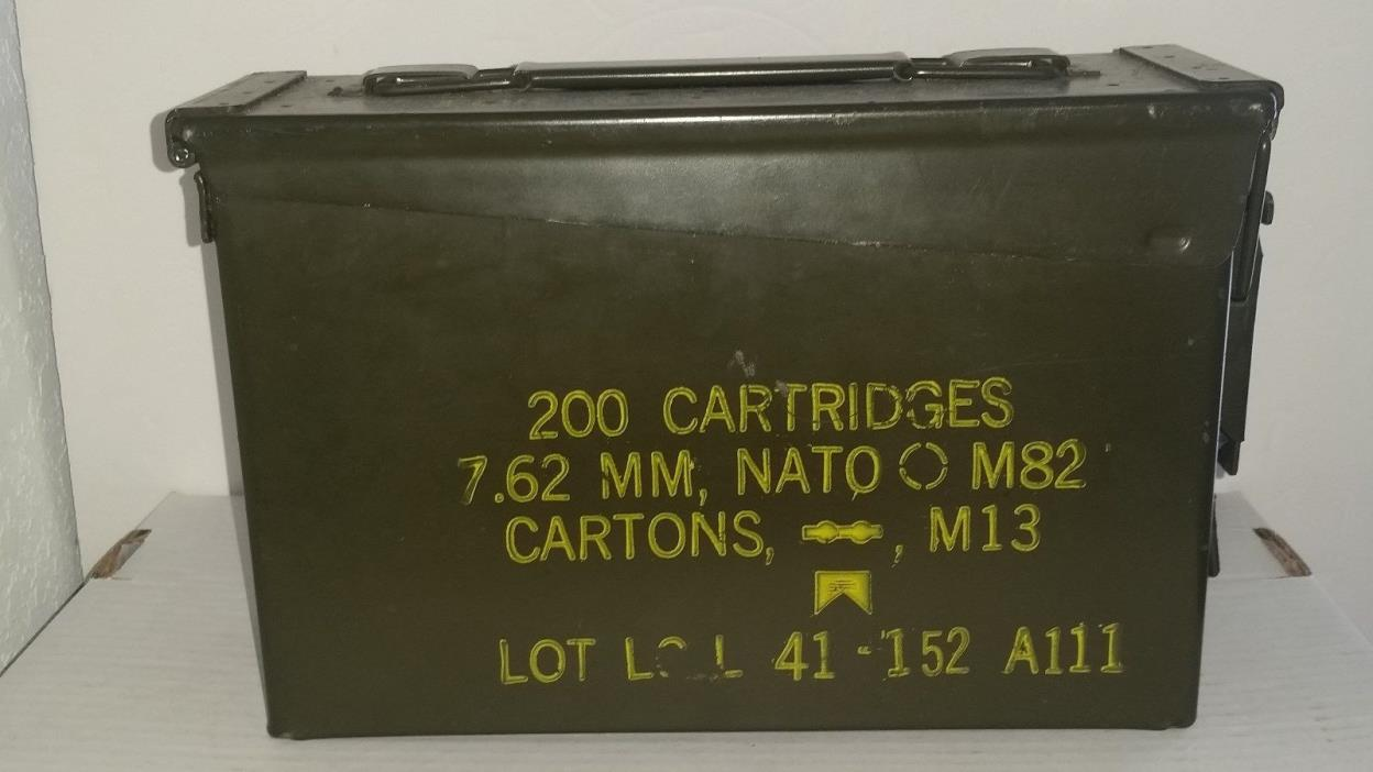 US Military Nato EMPTY Ammo Metal Box 200 Cartridges Free Shipping