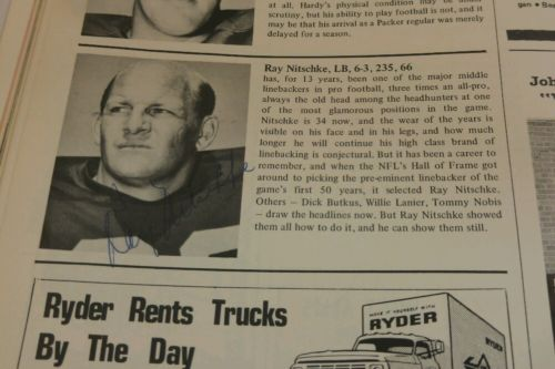Ray Nitschke Green Bay Packers 1971 Focus Yearbook 11 Sigs Auto PSA Signed HOF