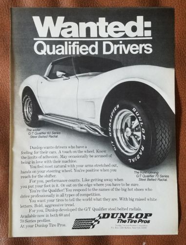 1977 Dunlop G/T Qualifier 60 70 Series Tires Corvette Magazine Ad