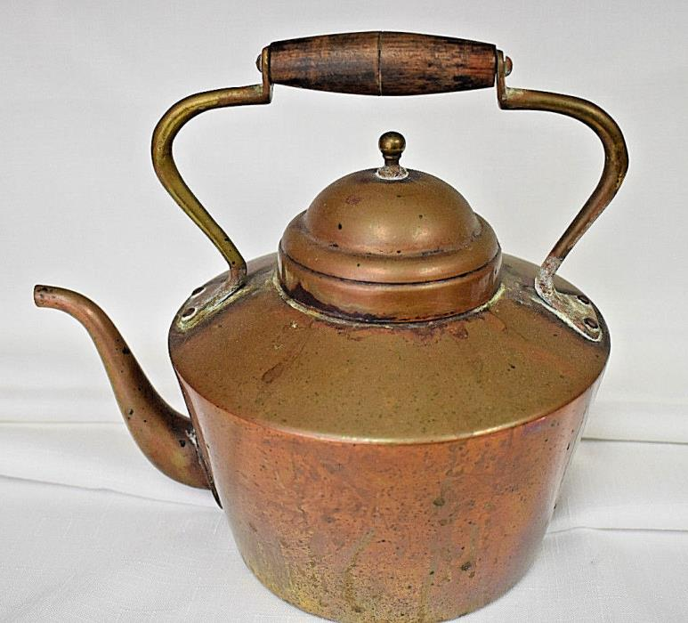 Vintage Copper Teapot Tea Kettle with Wood Handle
