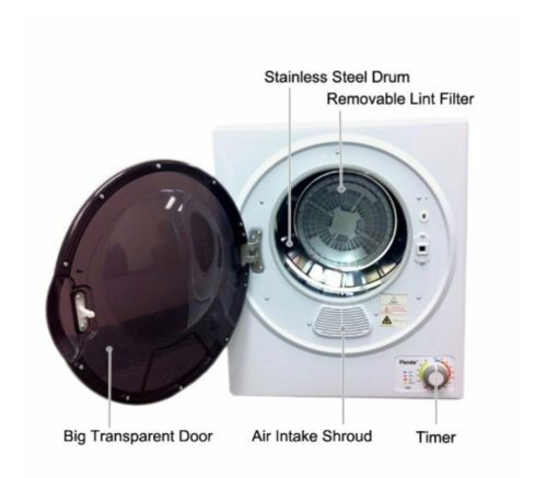 Mini Electric Dryer 1.5 Cubic Ft Laundry Clothes Dryer White Portable Compact...
