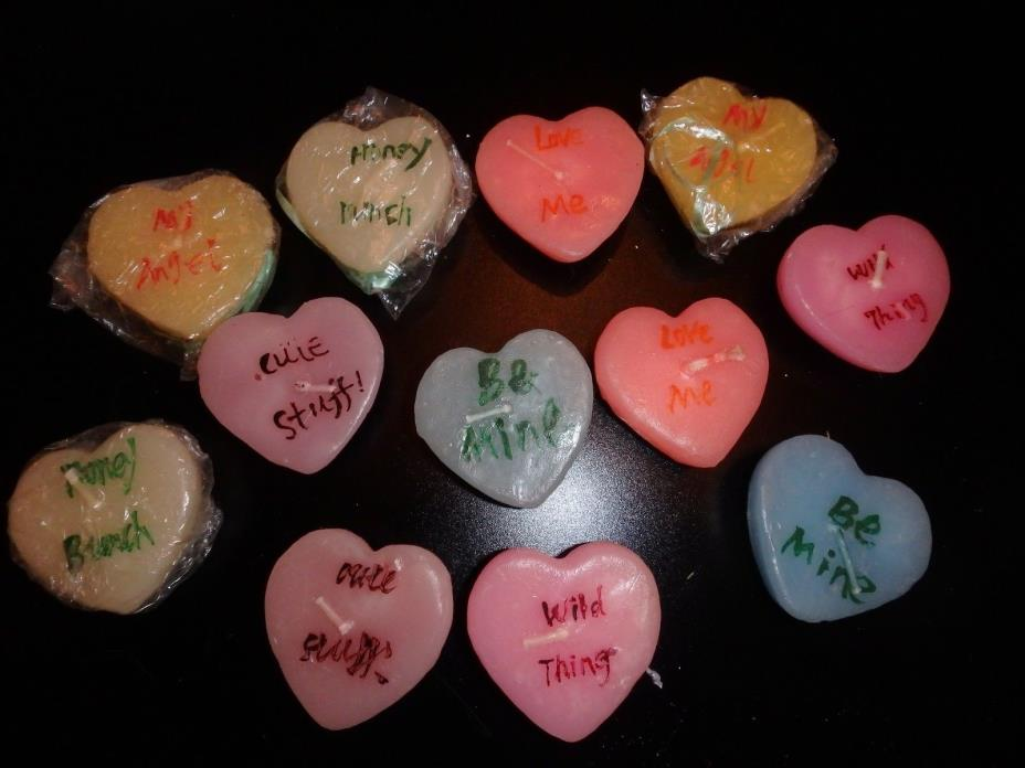 NEW & USED VALENTINE'S DAY Set of 12 CONVERSATION HEART FLOATING CANDLES