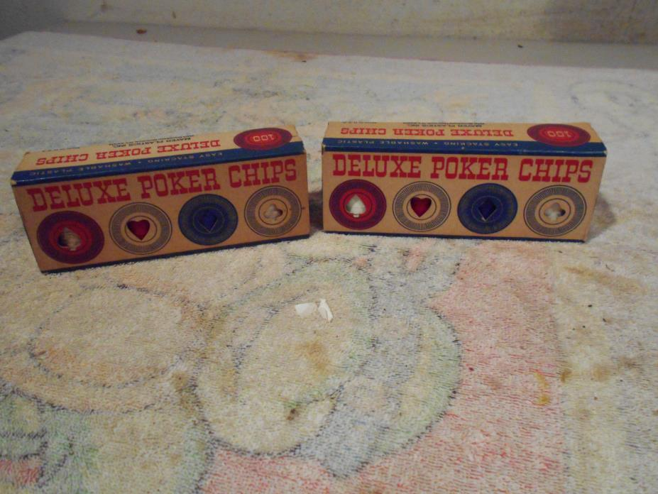 Vintage Mayer Plastics Deluxe Poker Chips Original Box USA antique hoyle LOT (2)