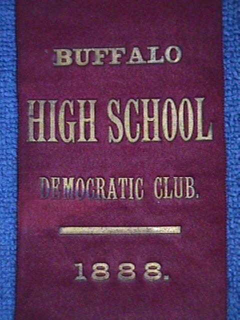c1888 ANTIQUE Woven SILK Bookmark: BUFFALO High School 1888 DEMOCRATIC CLUB (1)
