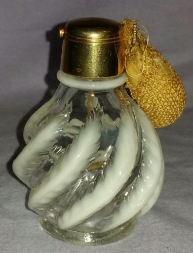 ANTIQUE FENTON DEVILBISS SWIRLED PLUME OPALESCENT PERFUME BOTTLE GOLD PLATE TOP