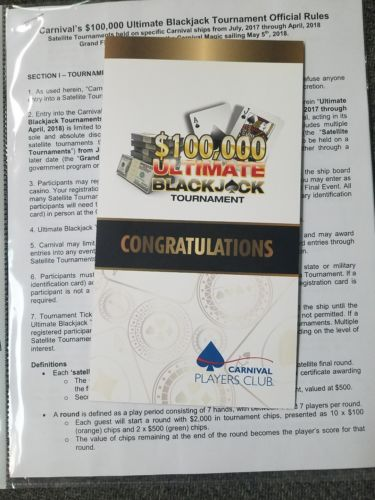 CARNIVAL CRUISE $100,000 Ultimate Blackjack Tournament Entry May 2018