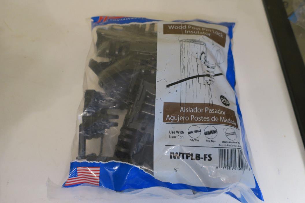 Fi-Shock Pin-Lock Wood & T-Post Insulators IWTPLB-FS pkge of 25 Black NEW & more