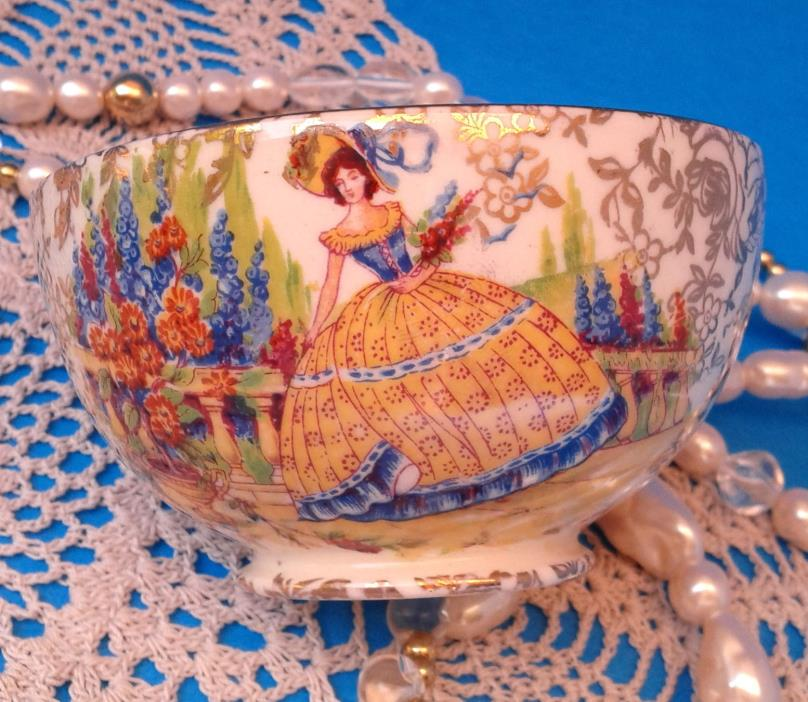 EMPIRE ENGLAND c.1940s CRINOLINE LADY GOLD CHINTZ OPEN SUGAR BOWL - Rare