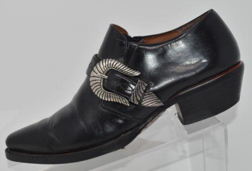Black Leather Ankle COWBOY Western BOOTS 5 5.5 Riding Rocker Vintage Unique 80s