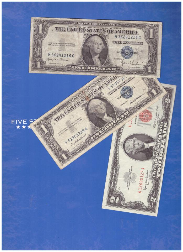 1-1963 2 DOLLAR RED SEAL AND 1-1935 & 1-1957 SILVER CERTIFICATE LOT M946