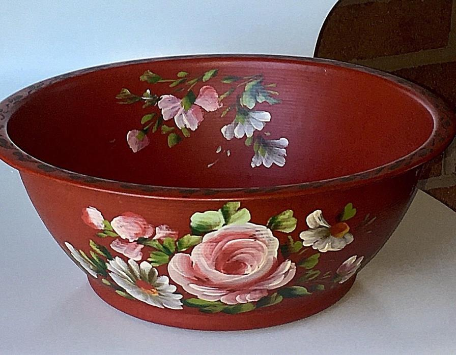 Vintage Original Tole Toleware Bowl Decorative Metal Bowl Hand Painted Roses Red