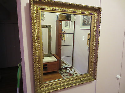 ANTIQUE  GILT GESSO ORNATE WOOD WALL MIRROR.